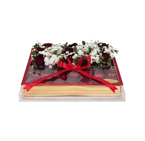 Acrylic Flower & Choco Box red Flowers