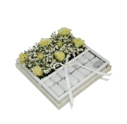 Acrylic Flower & Choco Box white Flowers
