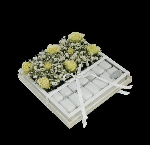 Acrylic Flower & Choco Box white Chocolates
