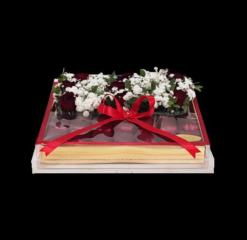 Acrylic Flower & Choco Box red Chocolates